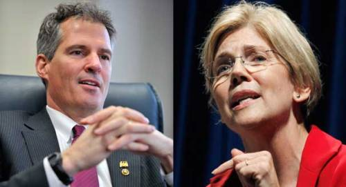 Minister of Morality Scott Brown, and his Senatorial opponent, 'Native(cough)American' Elizabeth Warren